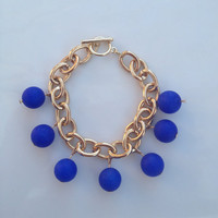 The Stella Bracelet - Cobalt Blue Jade and Gold Chain