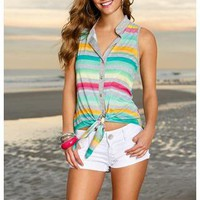 SLEEVELESS OMBRE STRIPE TIE FRONT TOP