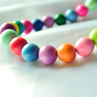 Colorful chunky wooden beaded necklace