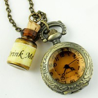 Amazon.com: Vintage Style Bronze Antique Pocket Watch Necklace Steampunk Gemstone Watch Face Pendant Flask Victorian Pendant Charm Bottle SET: Electronics