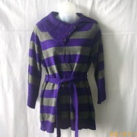 Carolyn Taylor belted sweater with buttoned collar in purple and gray stripes
