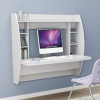 Amazon.com: Prepac Floating Desk with Storage in White: Home &amp; Kitchen