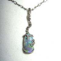 Wire Wrapped Lightning Ridge Opal Sterling Silver by thependantbox