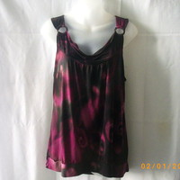 Bellina XL polyester & spandex sleeveless top in burgundy, pink, black and green