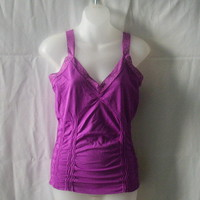 New Suzy Shier cami in candy pink nylon and spandex, size large