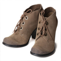 MIA Cadet lace up booties in sand