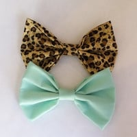 Leopard and mint bow set