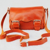 SALE / ORANGE SOFT LEATHER BAG by raydesign on Etsy
