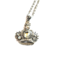 Bling it on Rhinestone Crown Pendant Necklace