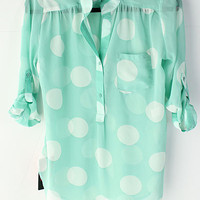 Mint Polka Dot Tunic from Monica's Closet Essentials