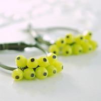 NEW Chartreuse Earrings, Antiqued Brass Hoops, Yellow Green Czech Glass Bead Cluster, Bright Jewelry