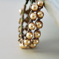 NEW Swarovski Pearl Hoops, Vintage Gold, Antiqued Brass Jewelry, Wire Wrapped Earrings