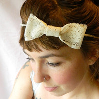 Vintage lace bowsnow white crown by RecycledFabric on Etsy