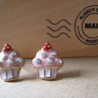 Strawberry CupCake Earrings Studs With Bling by Bitsofbling