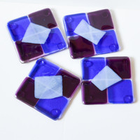 Handmade  fused glass drink coasters set blue purple by eyeseesage