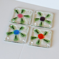 Handmade Fused Glass Drink Coasters Set Flower by eyeseesage