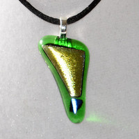 Green dichroic fused glass necklace pendant by eyeseesage on Etsy
