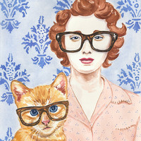 Woman Watercolor PRINT - Cat Watercolour, Art Print, Hipster Glasses, 11x14 Painting Print