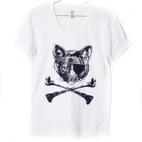 Cat &amp; Crossbones TShirt Select Size by BurgerAndFriends on Etsy
