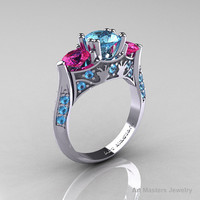 Nature Inspired 14K White Gold Three Stone Blue Topaz Pink Sapphire Solitaire Wedding Ring Y230-14KWGPSBT