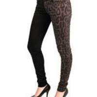 TRIPP - WOMENS GREY LEOPARD/BLACK SPLIT JEANS