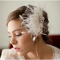 Bridal feather fascinator vintage rhinestones birdcage by LoBoheme