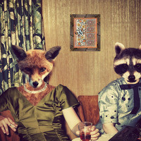 "Kitschy Art Print, Fox Raccoon Art, Mixed Media Collage ""Cocktail Hour"" Retro Fun Photograph, Watchful Crow Arts"