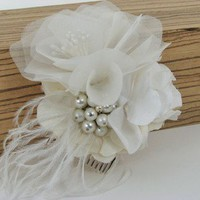Cecilia Silk Flowers and Feathers Bridal Fascinator by lushsugar