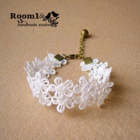 Original Handmade Vintage Lace Bracelet With Bell