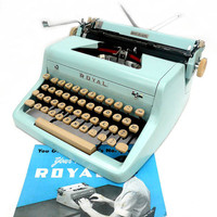 Fully Serviced 1950s Baby Blue Royal Typewriter w/ case and owners manual