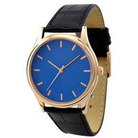 Rose Gold Watch with rose gold indexes in blue face