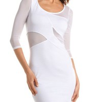 Mesh Inset Body-Con Dress: Charlotte Russe