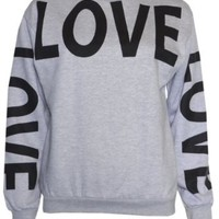 Amazon.com: Womans Big Love Logo Sweater Sweatshirt Top: Clothing