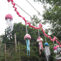 OOAK Crochet Jellyfish Garland. made to Order. Beach theme Decor