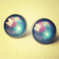 Retro Space, Galaxy Stud Earrings - Free Shipping - Made to order :)