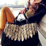 Leopard Tassel Shoulder Bag Handbag Black from trendvane