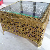 Vintage Filigree Jewelry Box Ormolu Brass by AlienThriftStore
