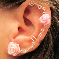 1 Non Pierced Cartilage Ear Cuff  &quot;Roses are Romantic&quot; Conch Cuff Silver tone