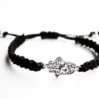 Hamsa Bracelet Black Hemp Friendship Hand of Fatima