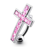 Dangling Silver Navel Belly Rings Pink Stylish Dangling Crucifix 925 Silver with 14g-3/8 Inch 316l Steel Curved Barbell Belly Ring Belly Button Piercing Rings