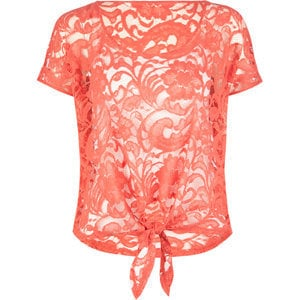 FULL TILT Lace Tie Front Womens Top 193057313 | tops | Tillys.com