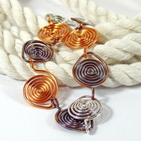 Mixed Metals Spiral Link Bracelet Copper and Silver by bluetina
