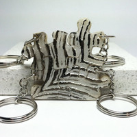 Puzzle Pieces Keychains Polymer Clay  Set of 4  Zebra Stripes Set  164