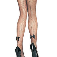 Pin-Up Girl Back Seam Bow Fishnet Pantyhose