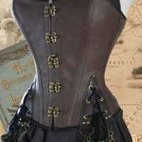 32 WAIST Steampunk Pirate Corset Brass Dark by Harlotsandangels