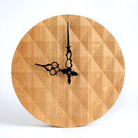 Wall clock made out of solid oak, diamond 3d pattern cut in oak