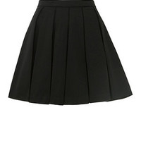 Black Sateen Pleated Skater Skirt