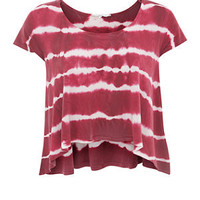 Pink and White Stripe Tie Dye Top