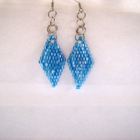 Beaded Blue Diamond Earrings