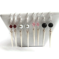 Silver Spike Earrings, Spikes, Swarovski Crystal Earrings